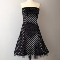 Jessica McClintock Black & White Polka Dot Dress 25 km