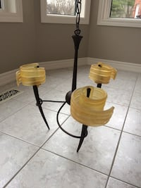 Yellow and black metal base spiral uplight chandelier