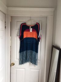 Free people   color block top with netting in the back and fringe at the bottom.   Size XS Johnston, 02919