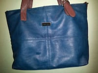 blue and brown leather tote bag Vancouver, V6Z 3C1