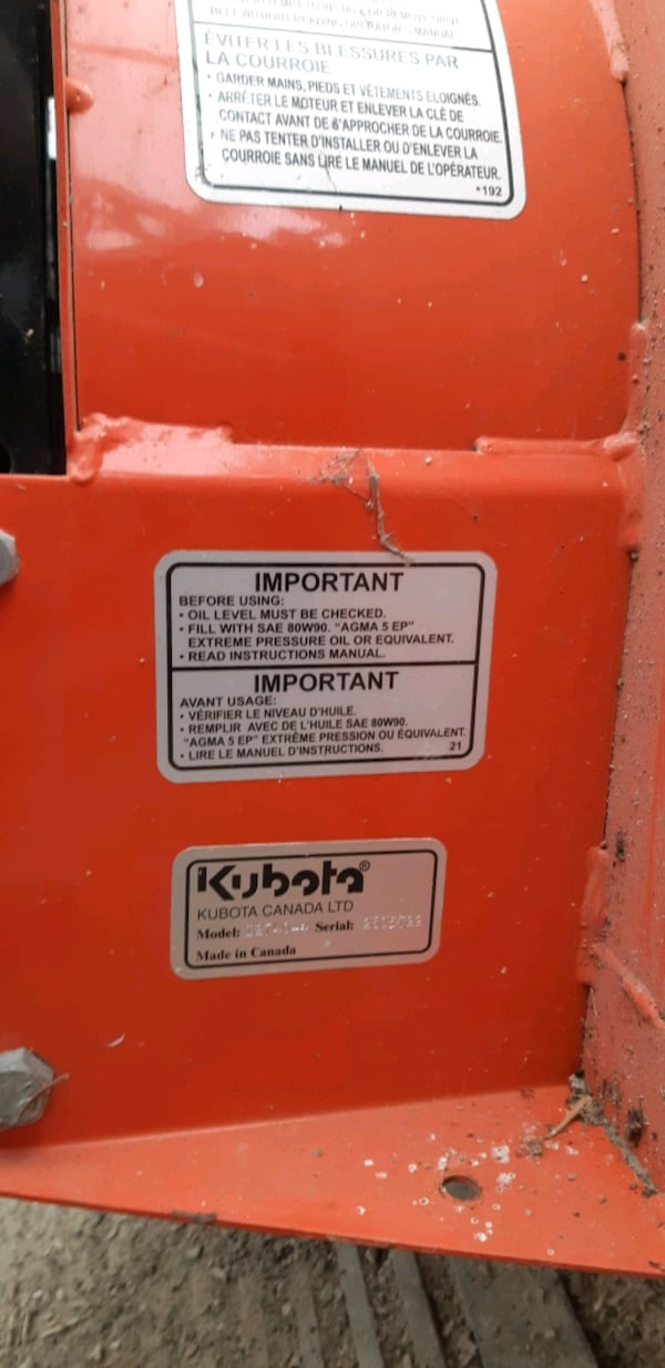 New kubota snow blower, chains, and weight d04c1bc0-b8cb-436d-afd2-4ab714002a48