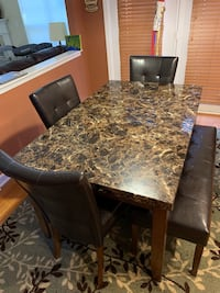 VERY GOOD CONDITION KITCHEN DINING SET (3 chairs + 1 bench)