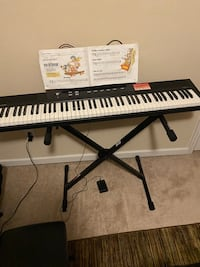 Keyboard, stand, and stool used omce