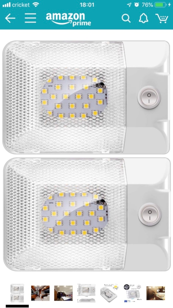 2 Pack Upgraded Super Bright DC 12V LED RV Ceiling Dome Light 300LM RV  Interior Lighting Trailer Camper RV Lights Interior with On/Off Switch for