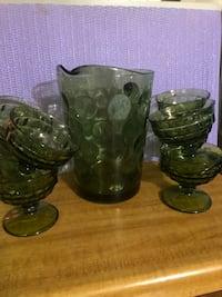 Green pitcher with 8 cup set Smithsburg, 21783