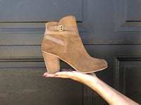 pair of brown suede chunky heeled booties Langley, V2Y 3G4