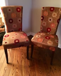 two brown-red-and-white floral chairs Vaughan, L4J 4R8