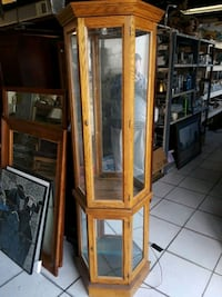 brown wooden framed glass display cabinet Saint Petersburg, 33705