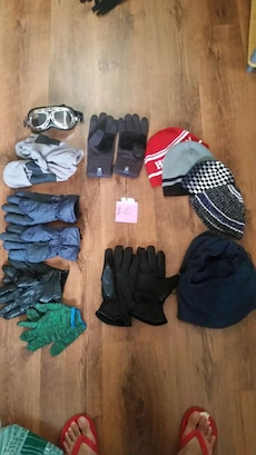 assorted black and grey gloves