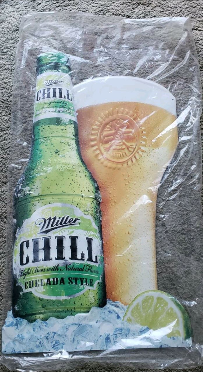Photo New Miller chill metal sign