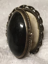 Antique 1920s Onyx POISON Ring 925 STERLING SILVER Toronto, M5T 2X9
