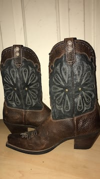 Pair of women's gray-and-brown leather chunky-heeled cowboy boots
