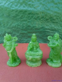 three mini green wise figurine