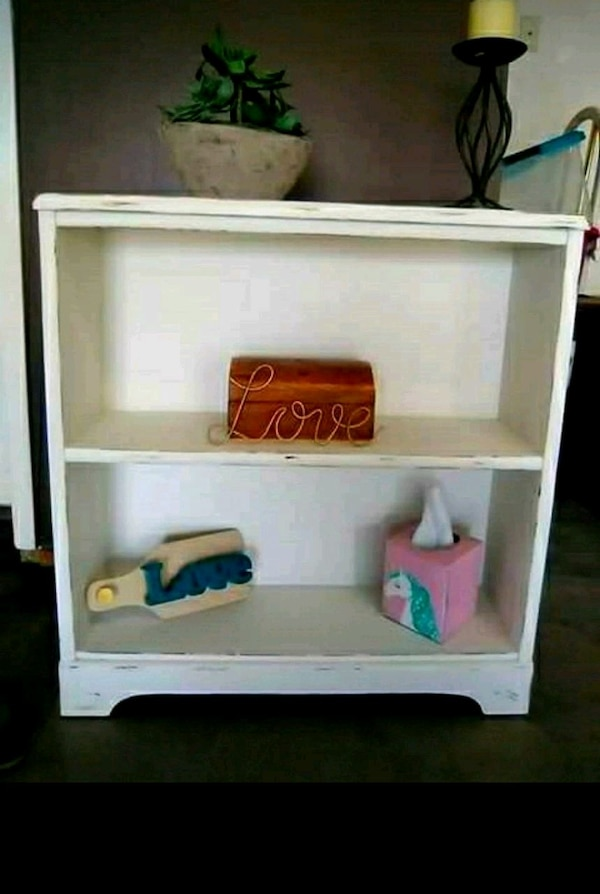 Used Distressed White Bookcase For
