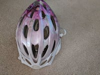 purple and white bicycle helmet