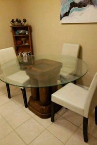 round clear glass-top brown wooden table with thre Huntington Beach, 92646
