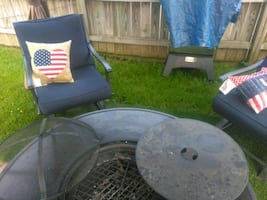 5 piece patio set with burn pit