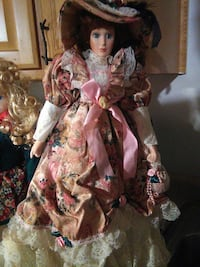 porcelain doll in white and brown dress Ocklawaha, 32179