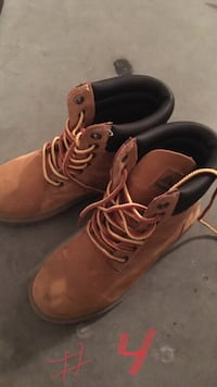 Brown-and-black suede work boots.