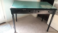 Black desk with glass top  (2 available$50 each)  Houston, 77057