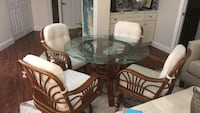 brown wooden frame glass top dining table set Lake Worth, 33467