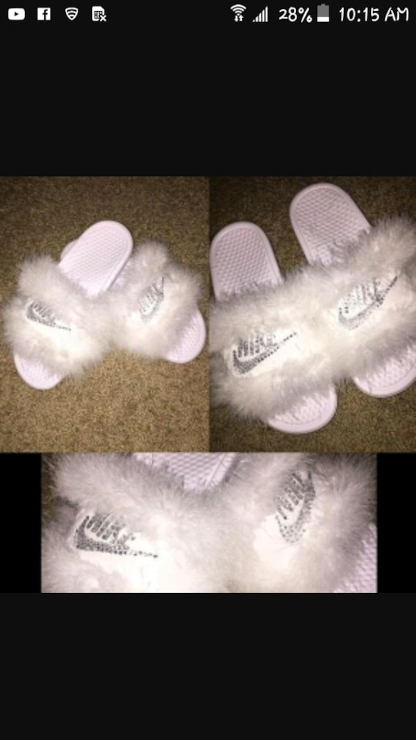 1f13c163a06d4 Used Nike slide on sandals with fur and rhinestones for sale in Lancaster -  letgo
