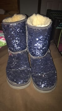 pair of blue sequin boots