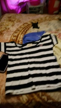 white and black striped scoop-neck shirt