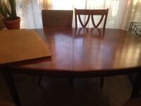 rectangular brown wooden table with four chairs dining set Andover