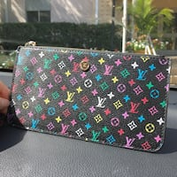 LV Monogram Multi Color Men Women Soft Leather Zippy Wallet