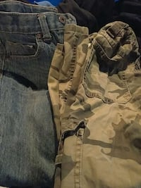 gray denim bottoms and beige gray camouflage bottoms Brilliant, 35548