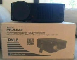"Black Pyle led digital projector and 72"" screen"