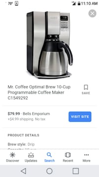 Mr. Coffee 10 cup optimal brew with thermal carafe Visalia