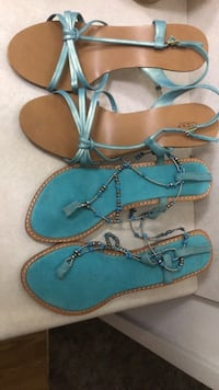 Pair of blue-and-brown sandals Chico, 95973