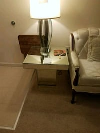 stainless steel base white shade table lamp Accokeek, 20607