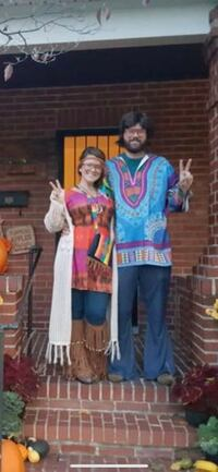 Female hippie costume- includes: top, glasses, head wrap, leg warmers, tie dye purse  Frederick, 21702