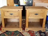two brown wooden 2-drawer nightstands Palmetto