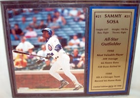 """Sammy Sosa Color Photo Plaque 12"""" X 15"""" Limited Edition 74 of 1998"""