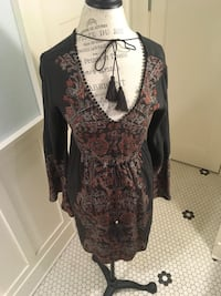 Brown and red v-neck hippie dress with tassels Seattle, 98115