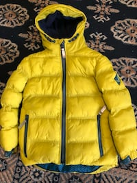 Yellow zip-up bubble jacket London, NW6