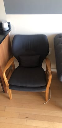 Black and brown wooden armchair