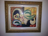 brown wooden framed painting of red and white flowers Gainesville