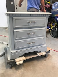 Soft Grey Two drawer bedroom Side table. Refinished. Solid wood Peachland, V0H 1X6
