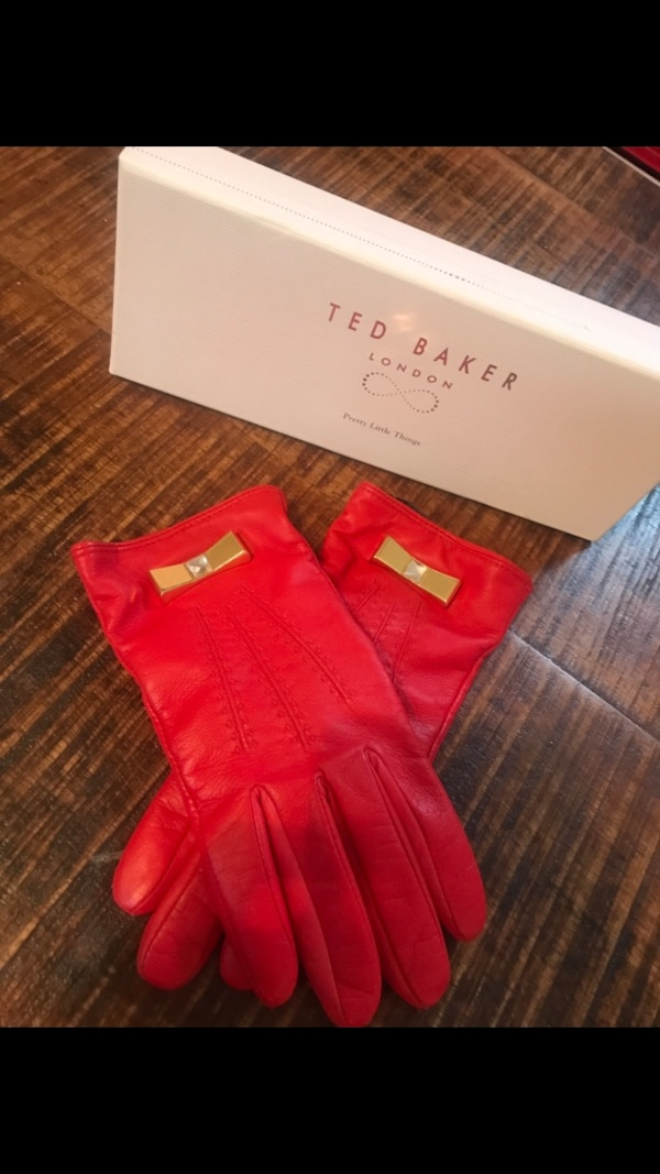 Ted Baker Red Leather Gloves