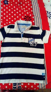 white and blue stripe polo shirt Bandhagen, 124 62