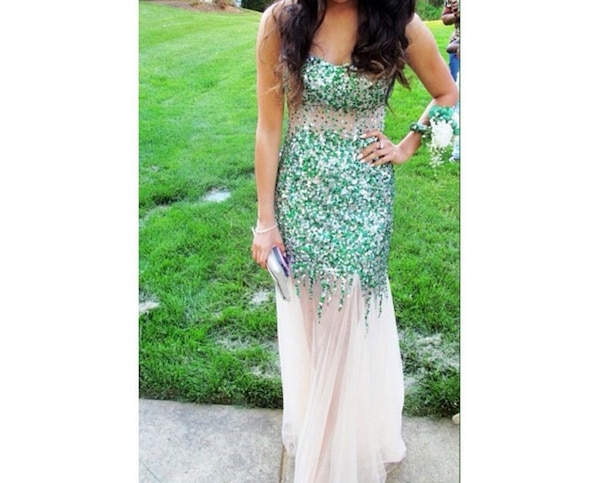 green and nude beaded tube-top prom dress