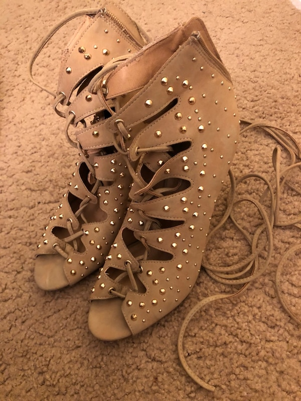 Tan ankle strap heels with gold studs  273f9e3b-6053-41ef-8fe2-3399a4a1318e