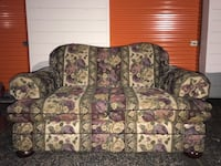 Couches (deep purple, green, and cream floral)