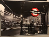 3x5' London Underground Picture with frane - Piccadilly Circus