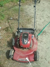 red and black push mower Seale, 36875